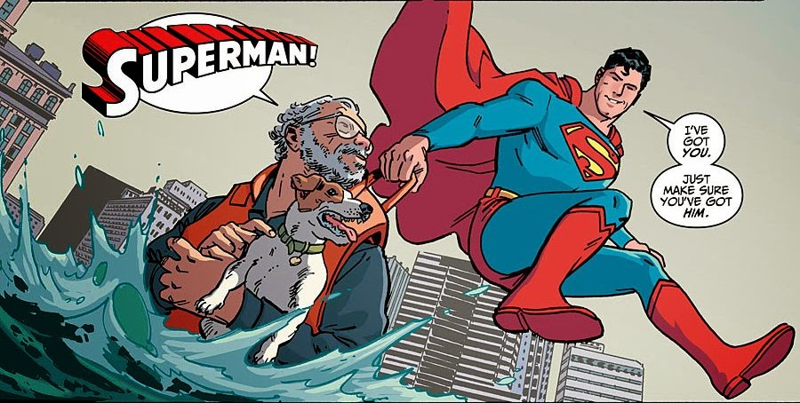"Superman rescues Joe Kubert and his dog in what also looks like an homage to ""You've got me?! Who's got you?!"""