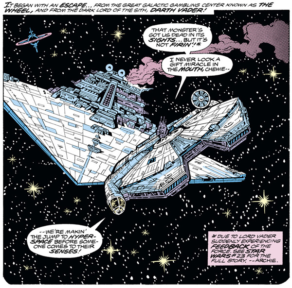 from Star Wars #28 (1979), script by Archie Goodwin, art by Carmine Infantino and Gene Day