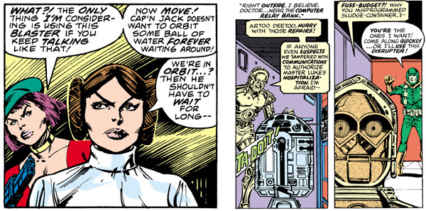 L: from Star Wars #13 (1978), script by Archie Goodwin, art by Carmine Infantino and Terry Austin / R: from Star Wars #19 (1979), script by Archie Goodwin, art by Carmine Infantino and Bob Wiacek