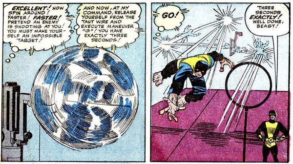 from X-Men #1 (1963), script by Stan Lee, art by Jack Kirby and Paul Reinman