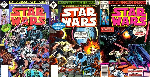 Covers of Star Wars #2, 5, 6 (1977), art by Howard Chaykin and Tom Palmer (#2); Rick Hoberg and Dave Cockrum (#5-6)