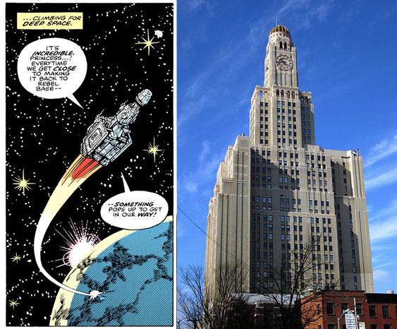 L: from Star Wars #25 (1979), script by Archie Goodwin, art by Carmine Infantino and Gene Day / R: Williamsburgh Savings Bank, Brooklyn