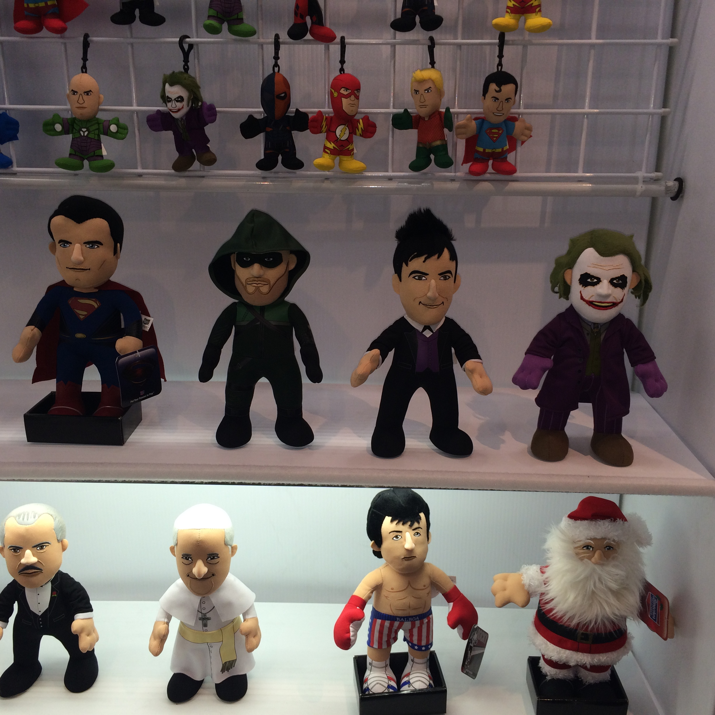 Man of Steel! Arrow! Gotham Penguin! Ledger Joker! Little guys! Vito Corleone next to the Pope!