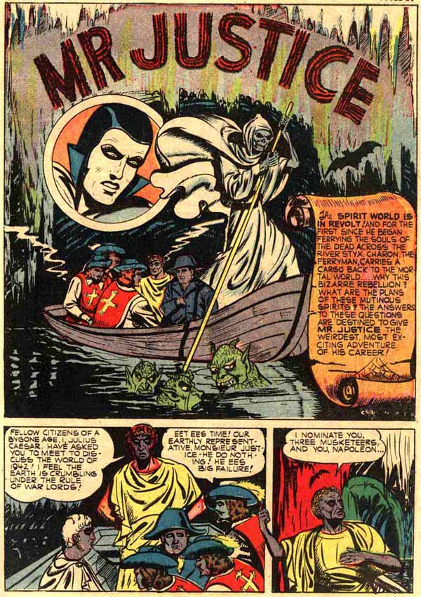 """Mr. Justice"" in Jackpot Comics #6 (1942), script by Joe Blair, art by Sam Cooper"