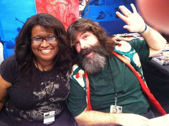 "WWE SUPERSTARS artist Alitha E. Martinez and WWE SUPERSTARS co-creator Mick ""The Hardcore Legend"" Foley"