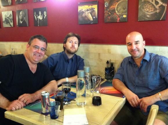 Me, Francesco and friend Martinho Correia, dining in Florence.