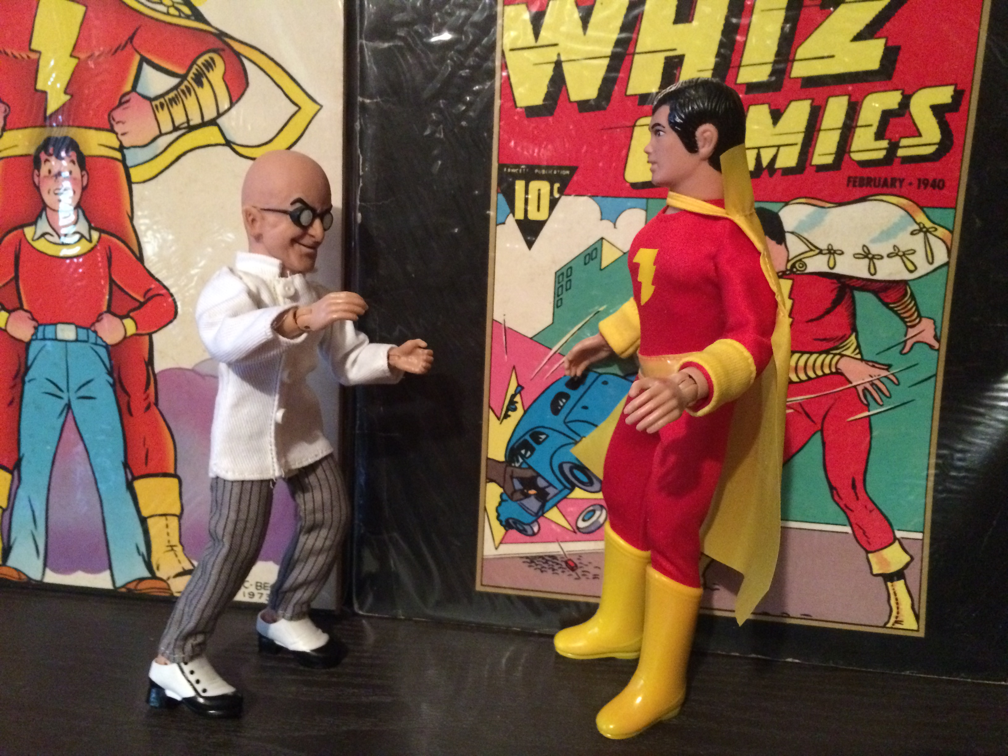 """I'll foil your evil plot, Sivana!"" ""Why, you ...!"""