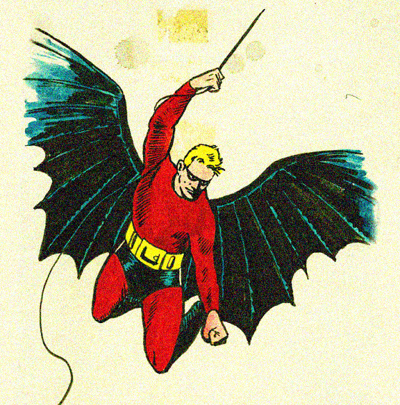 A re-creation of Bob Kane's original Batman design, by historian Arlen Schumer.