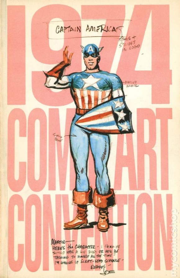 Simon's 1940 Cap sketch was used for the '74 Comic Art Convention program cover ...