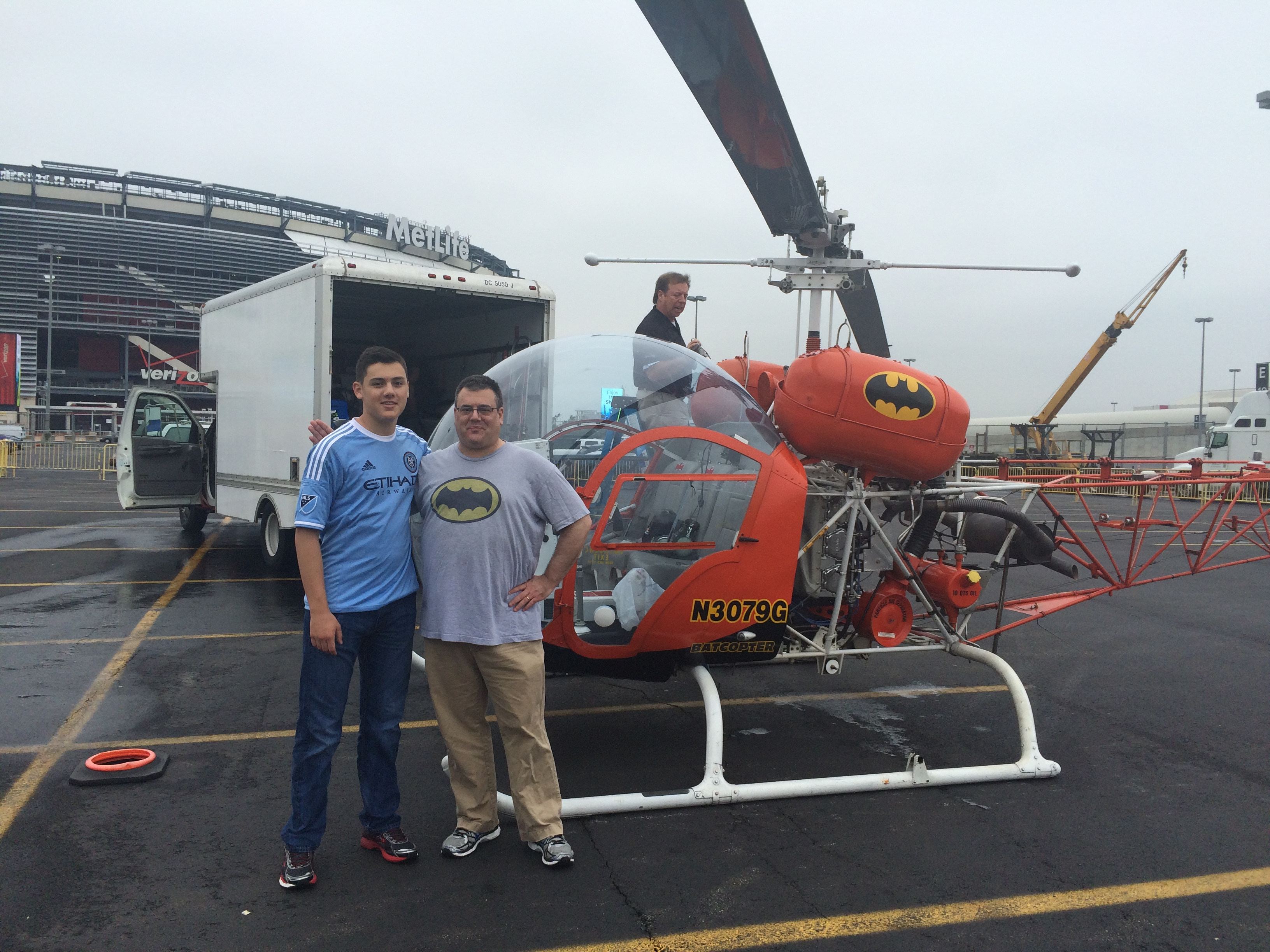 My son Sam, me, and Gene getting the Batcopter ready to fly.