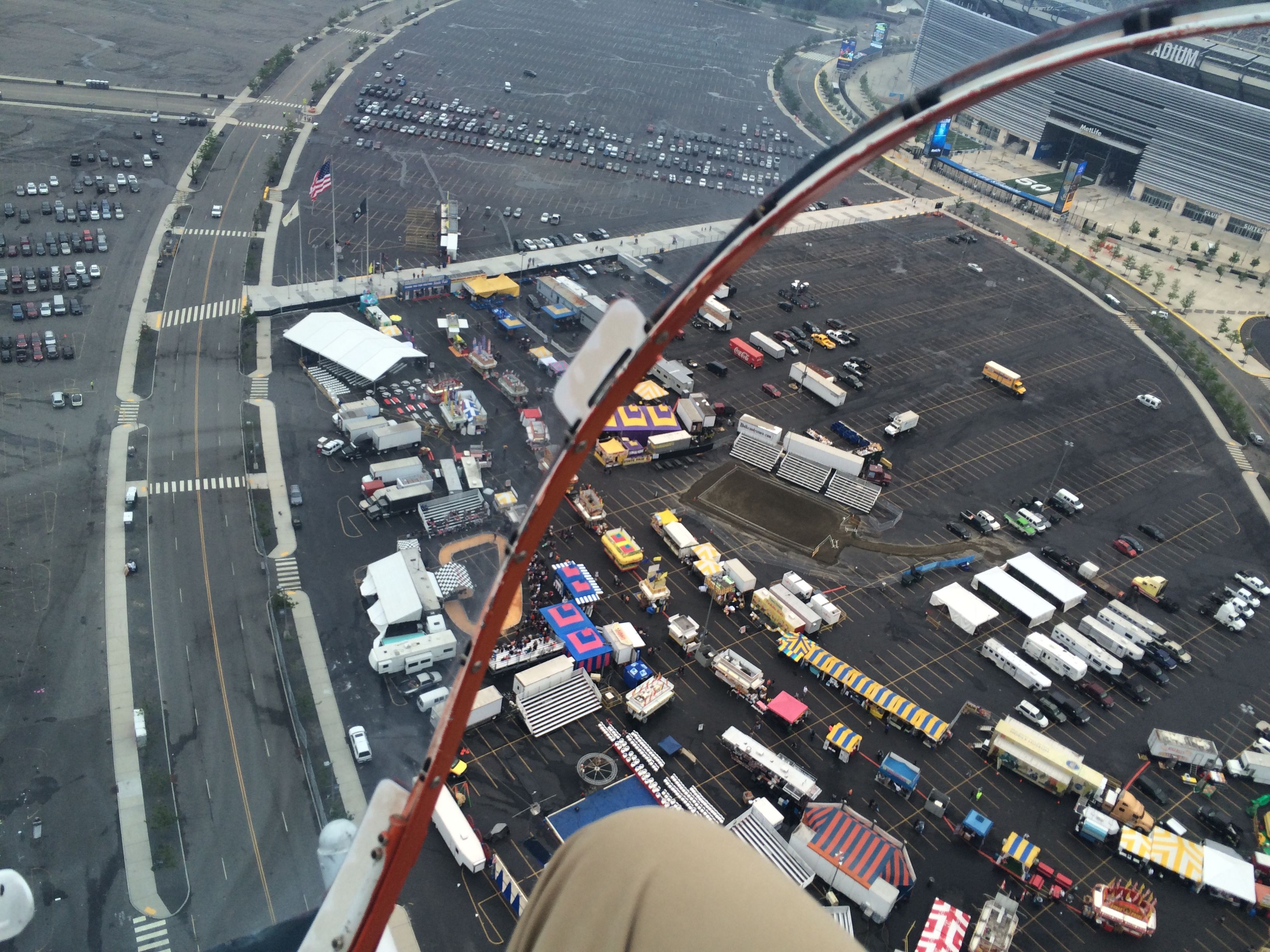 My view from inside the Batcopter, flying above the Meadowlands earlier this year.