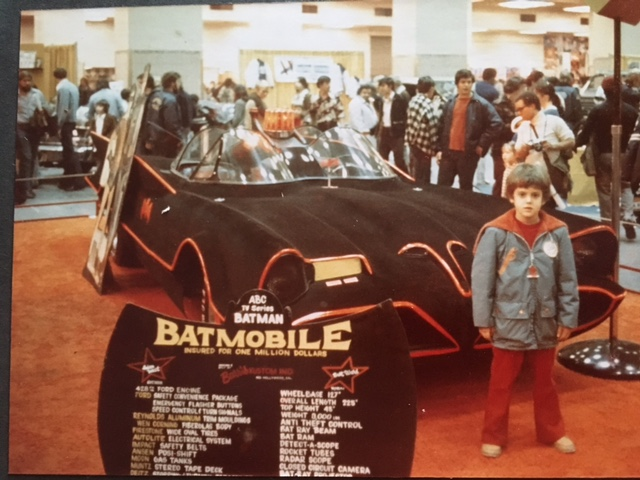 There I am in my Dolphins coat, visiting the Batmobile when I was 7 or 8.