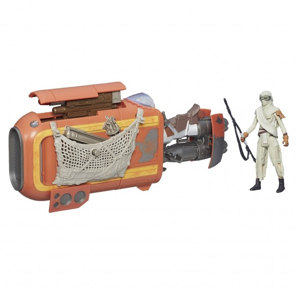 Rey action figure, with speeder