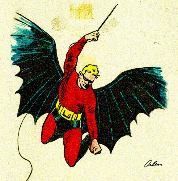 Historian Arlen Schumer's rendering of what Kane's original Batman looked like in color.