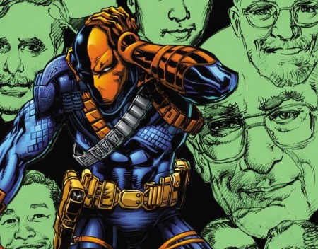 That's Julie Schwartz just to the right of Deathstroke.