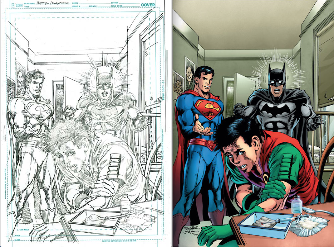 Batman/Superman #29 inked by Josh Adams and colored by Alex Sinclair.