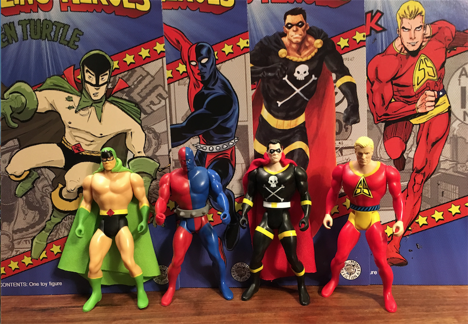 Green Turtle, Daredevil, Black Terror, Silver Streak, with artwork by (respectively) Sonny Liew, Mike Allred, Tom Fowler and Tim Seeley.