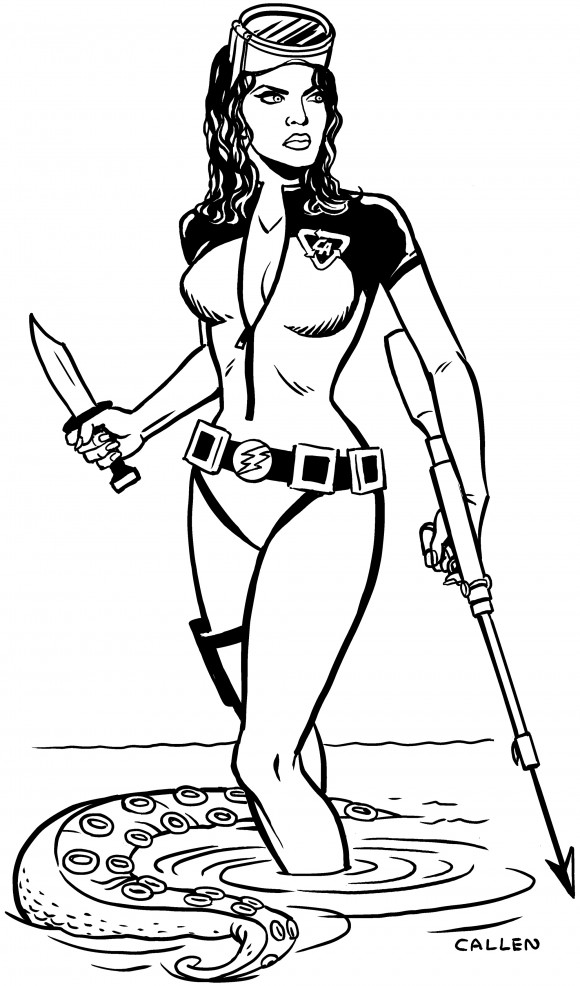 Kerry Callen's Lady Action concept art. She's like Claudine Auger crossed with Ursula Andress.