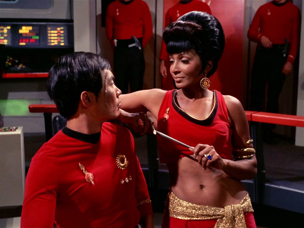 One of her finest moments on the show, with George Takei as Evil Sulu