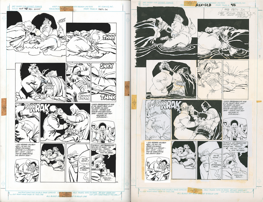 Janson inks on the left. Miller's revisions on the right.