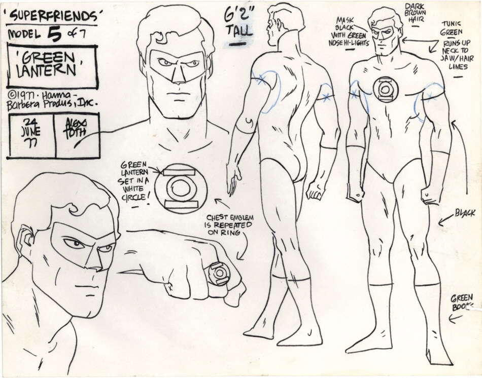 Alex Toth Green Lantern model sheet