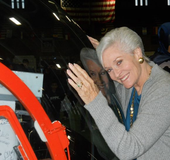 Lee Meriwether and the Batcopter. Courtesy Eugene Nock.