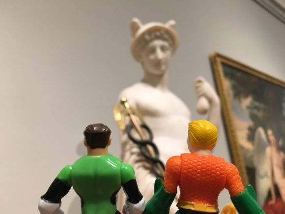 """Arthur, I didn't know Jay Garrick had a statue at the Prado, Arthur."" ""You don't read much, do you Hal?"""