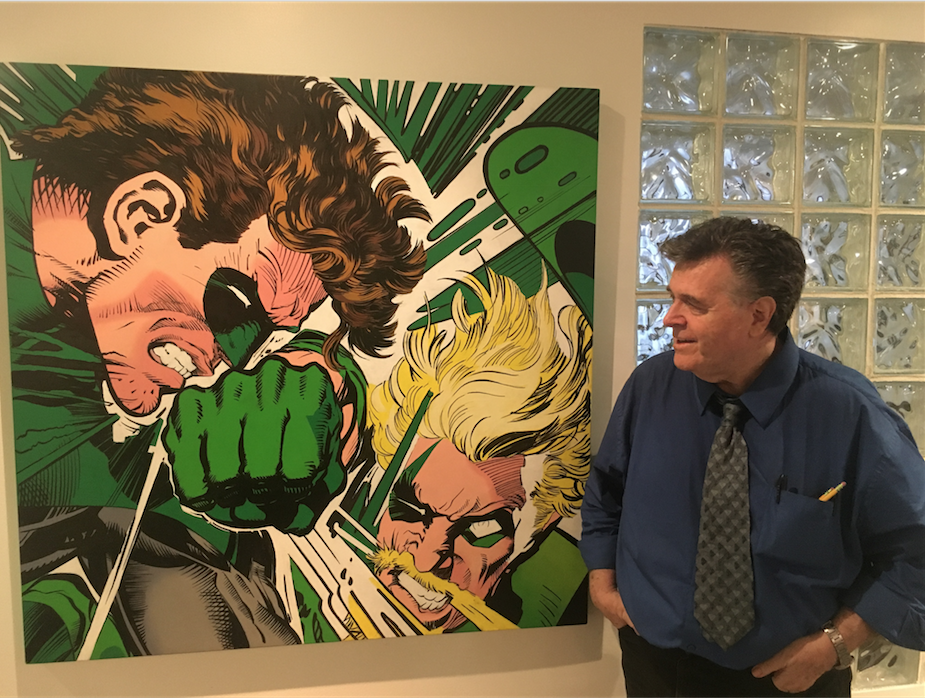 Adams with a gorgeous original painting of two guys you mighta heard of.