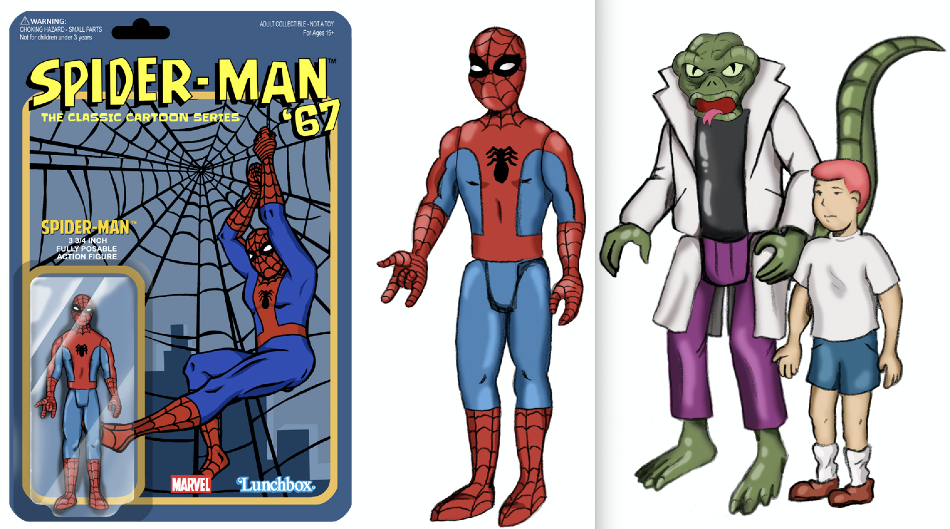 Dig These Groovy Spider Man 67 Cartoon Action Figure Designs 13th Dimension Comics Creators Culture